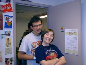 My now-wife and I in the student newspaper office, ca. 1999.